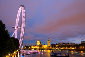 Evening view of London Eye and House of Parliament. UK