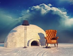 armchair and igloo
