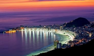 Night view of Copacabana beach. Rio de Janeiro